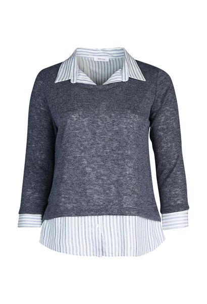 Trui met hemd in 2-in-1 effect - Indigo