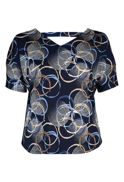 T-shirt met open rug en mouwen - Marineblauw