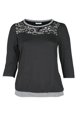 T-shirt met stippen en kant, Zwart