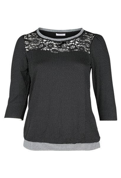 T-shirt met stippen en kant - Zwart