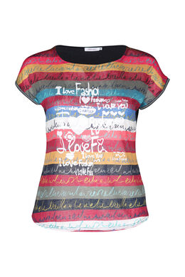 T-shirt in bedrukt linnen, Multicolor