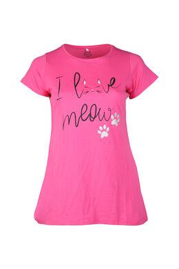 Lang T-shirt met kattenprint, Fushia