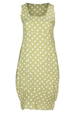 Lange jurk in linnen met stippen, Olijfgroen