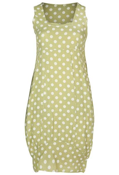 Lange jurk in linnen met stippen - Olijfgroen