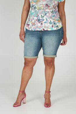 Jeansshort met omslagen, Denim