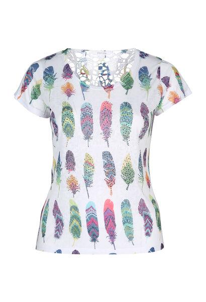 T-shirt in scheurtjestricot met pluimenprint - Multicolor