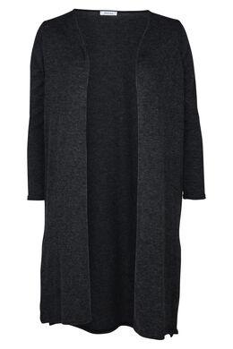 Lange cardigan in warm tricot, Antraciet