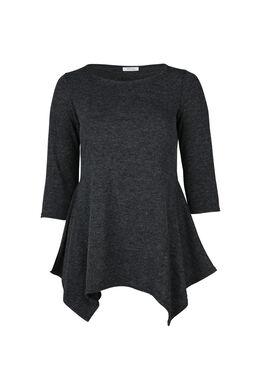 Tuniek-T-shirt in warm tricot, Antraciet