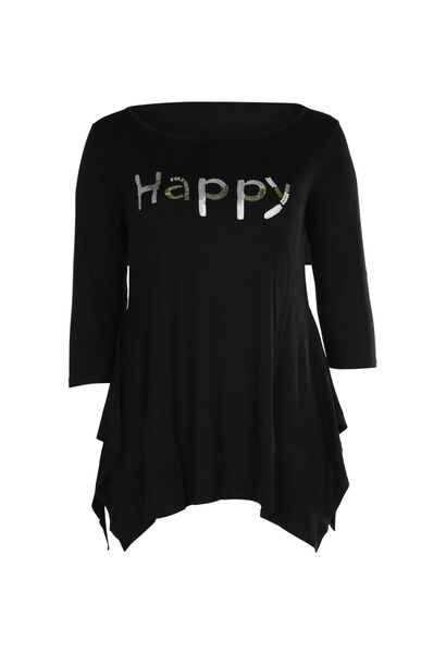 T-shirt 'Happy' in lovertjes en kralen - Zwart