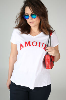T-shirt met print 'Amour', Rood