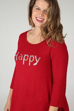 T-shirt 'Happy' in lovertjes en kralen, Bordeaux