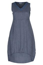 Lange jurk in gestreept linnen