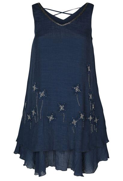 Effen jurk met bloemen in netstof en kralen - Marineblauw
