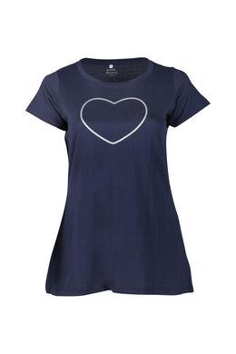 Lang T-shirt met hartjes met lovertjes, Marineblauw