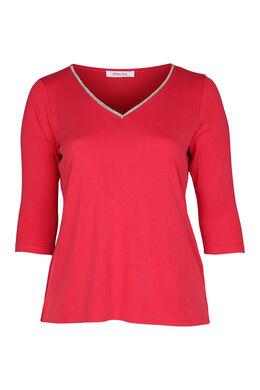 T-shirt met juweelkraag, Rood