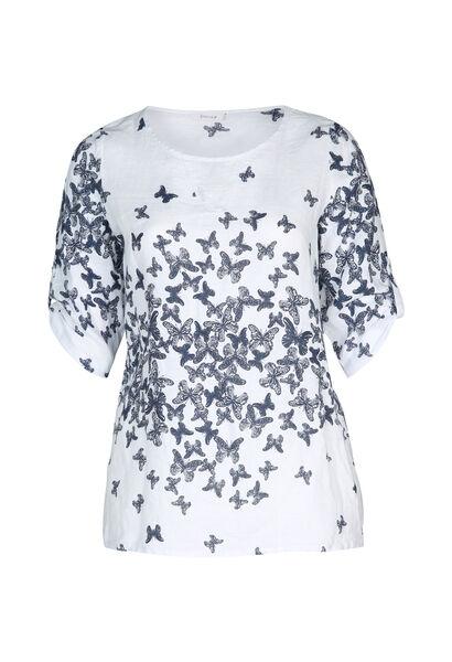 Linnen bloes met vlinderprint - Wit