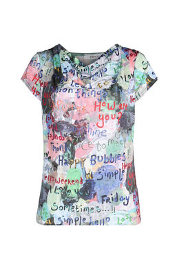 Bedrukt T-shirt in koel tricot, Multicolor