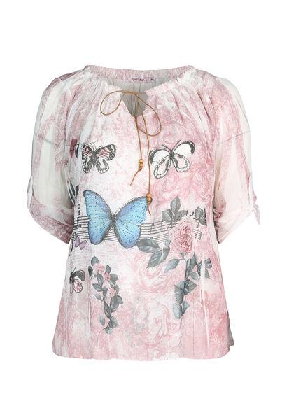 Bloes bedrukt met vlinders - Roze