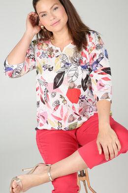 T-shirt in linnentricot met bladprint, Koraal