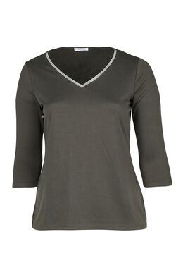 T-shirt met juweelkraag, Kaki