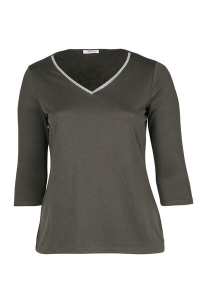 T-shirt met juweelkraag - Kaki