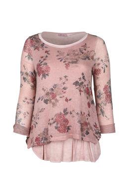 Gevoerde trui met bloemenprint, Roze