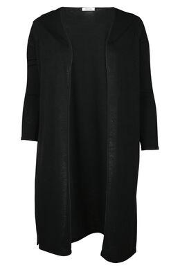 Lange cardigan in warm tricot, Zwart