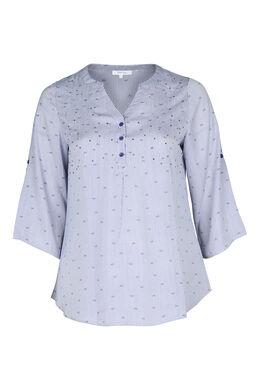 Gestreepte bloes met print, Marineblauw