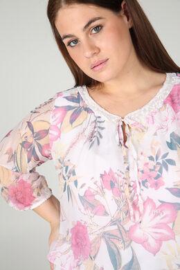Bedrukte bloes in zijde en viscose, Roze