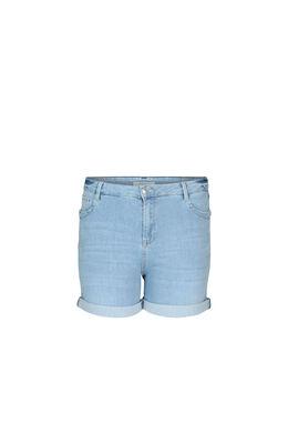 Jeansshort met ringetjes, Licht denim