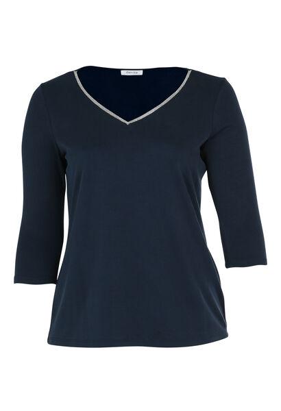 T-shirt met juweelkraag - Marineblauw