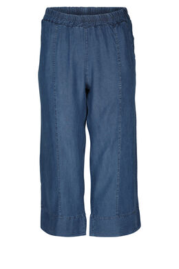 Brede kuitbroek in lyocell-jeans, Denim