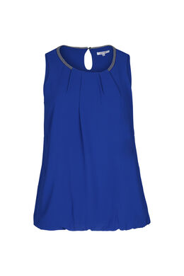 Mouwloze bloes met kralenhals, Bic blauw
