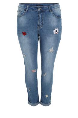 Jeans Nina met applicaties, Denim