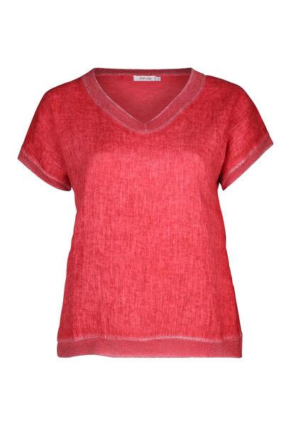 T-shirt linnen vooraan tricot achteraan - Oranje