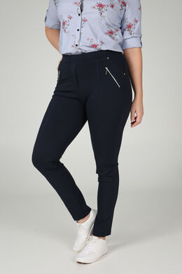 Jegging in warm tricot, Marineblauw