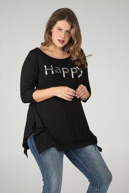 T-shirt 'Happy' in lovertjes en kralen, Zwart