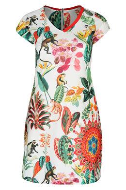 Jurk met tropische print en apen, Multicolor