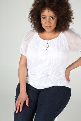 T-shirt in scheurtjestricot met strassteentjes, Wit