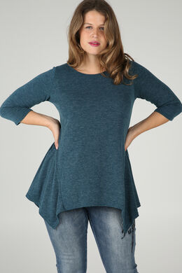 Tuniek-T-shirt in warm tricot, Emerald groen