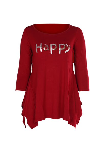 T-shirt 'Happy' in lovertjes en kralen - Bordeaux