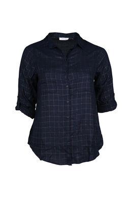 Geruite blouse, Marineblauw