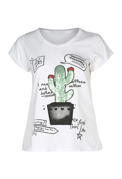 T-shirt met een cactus met lovertjes - Wit
