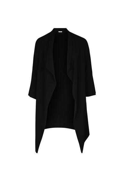 Lange jas met slippen - Zwart