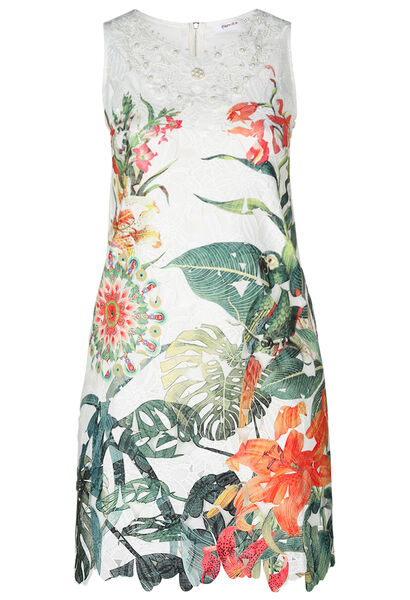 Kanten jurk met tropische print - Multicolor
