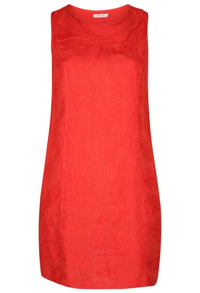 Linnen jurk met geborduurde bladeren - Paprika