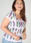 T-shirt in scheurtjestricot met pluimenprint, Multicolor