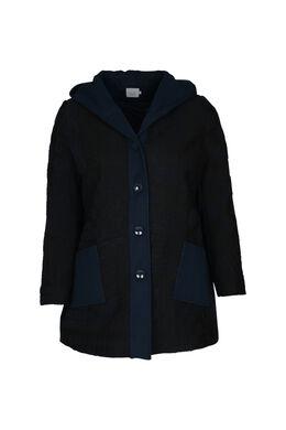 Mantel met wollook, Marineblauw