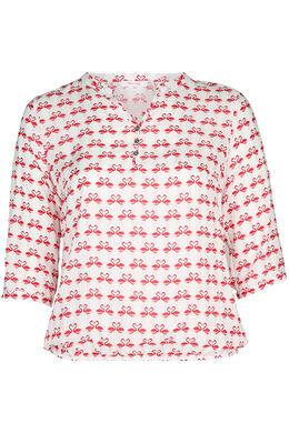 Elastische bloes bedrukt met flamingo's, Rood