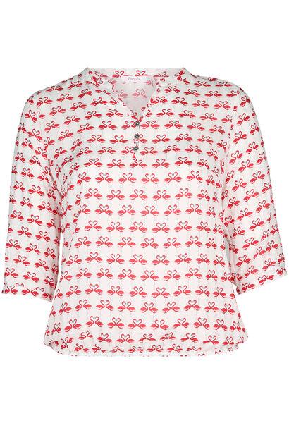 Elastische bloes bedrukt met flamingo's - Rood